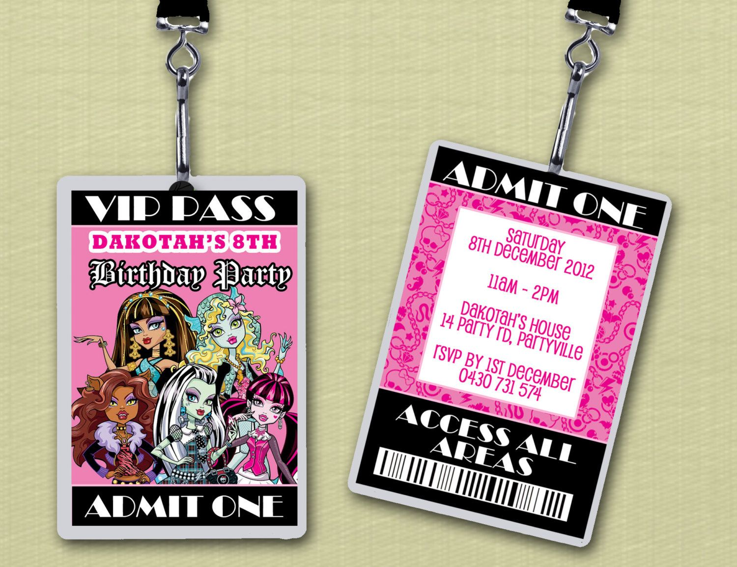 Personalised Monster High VIP Lanyard Invitations via Etsy Myas