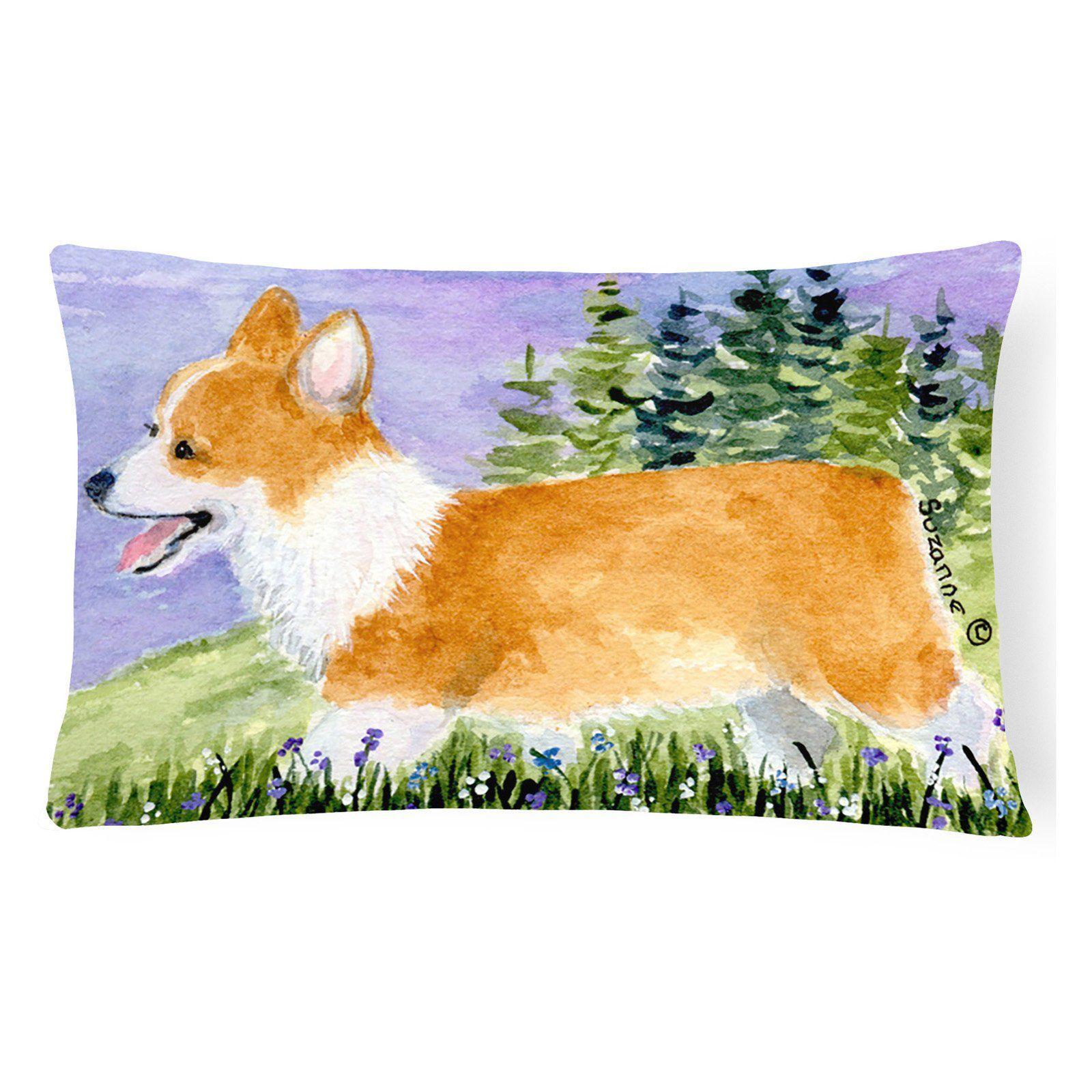 Carolines Treasures Corgi Dog on Purple Decorative Outdoor Pillow - SS8912PW1216