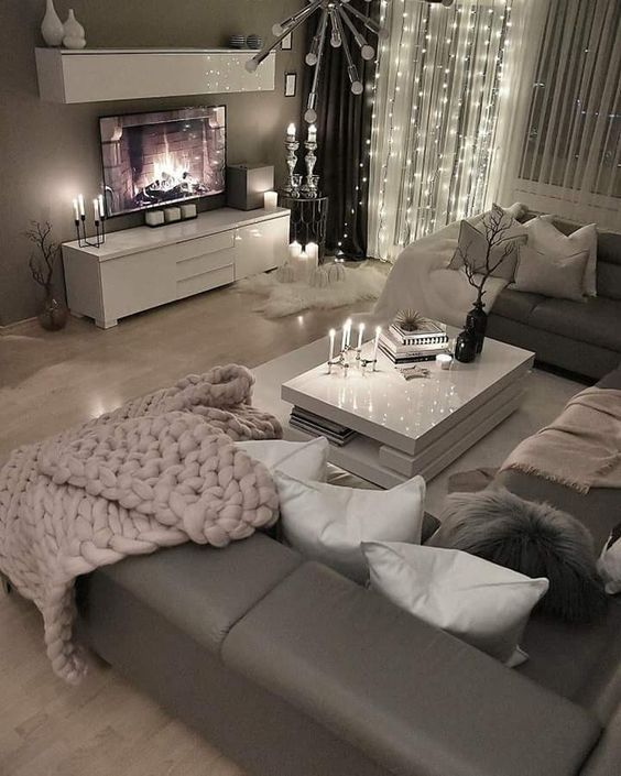 46 Cozy Living Room Ideas And Designs For 2019: Loving This Grey Modern And Cozy Living Room Decor