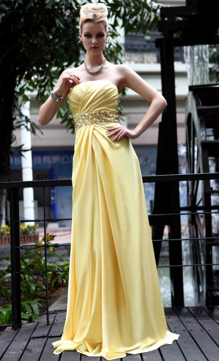 A line elastic woven satin floor length empire with beading