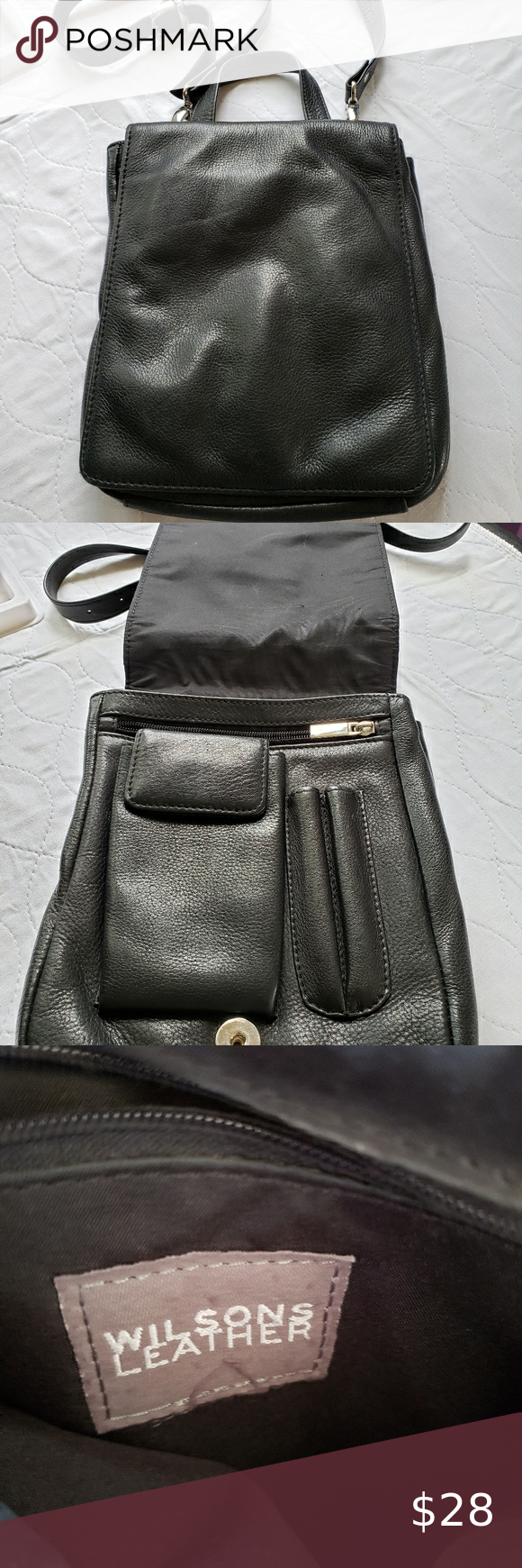 Wilson's leather black bag purse in 2020 Wilsons leather