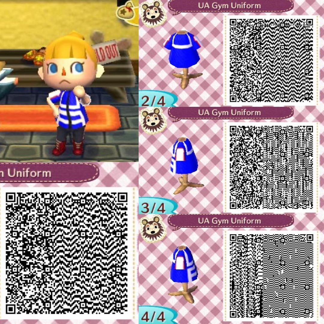 Smolnlovelyyt On Instagram Qr Code For Animal Crossing New Leaf Ua Gym Uniform In 2020 Animal Crossing Qr