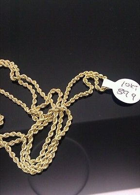 10k Yellow Gold Rope Chain Necklace Solid 20 034 Long 6 4 Grams 1 5 Mm Diamond Cut Jewelry Vintage Antique Jewelry The Jewelry Lady S Store Jewel