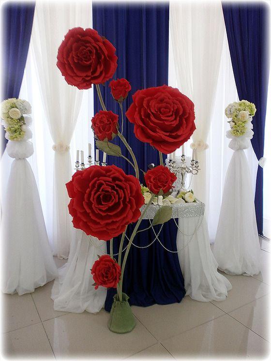 Оформление зала большими цветами 94