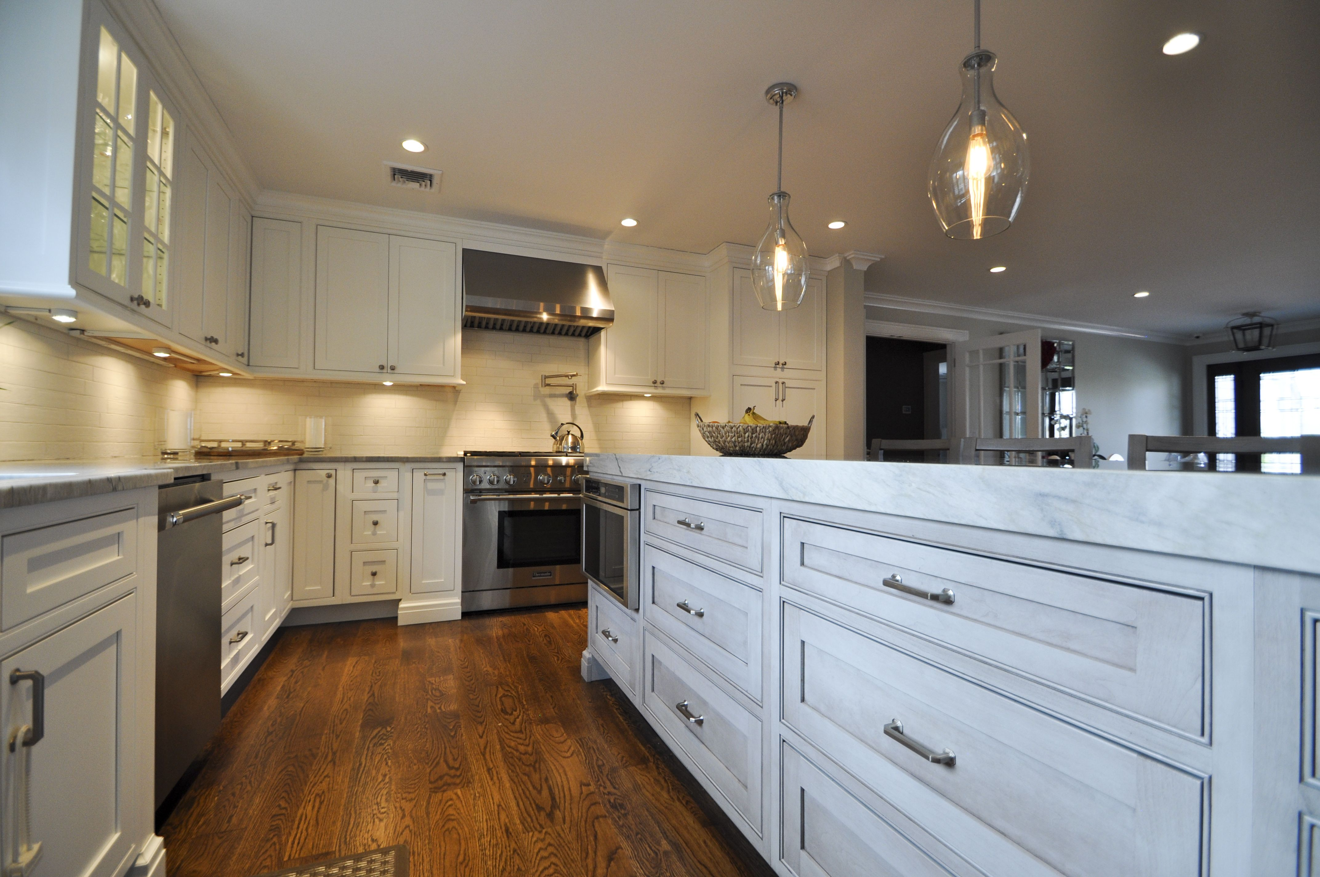 """9' Island with 3"""" Mitered Countertops and Island Microwave ..."""