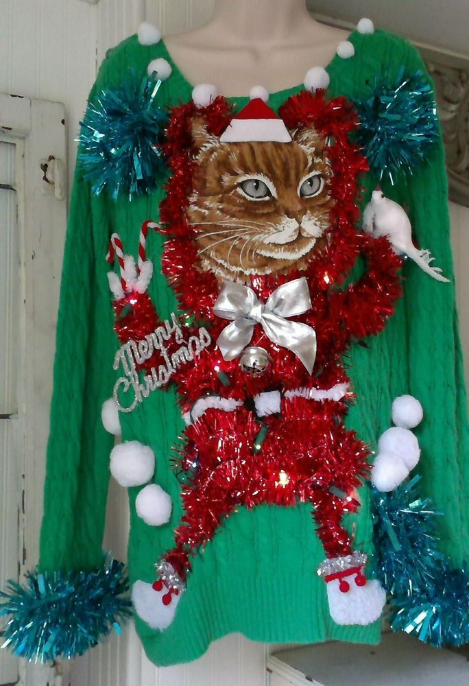 Tacky Ugly Cat Sweater Star Lights Up Ooak Medlarge Crazy Christmas
