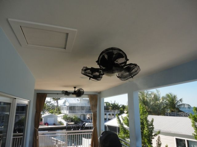 I Would Really Like One Of These Outdoor Misting Ceiling Fans And Light On  My Patio! Tri Mist Misting Cooling Celling Fans And Systems