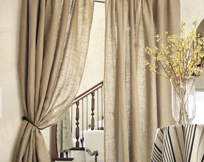 White Burlap Tiered Ruffle Valance Romantic Custom Made To Etsy Living Room Drapes Burlap Curtains Living Room Decor