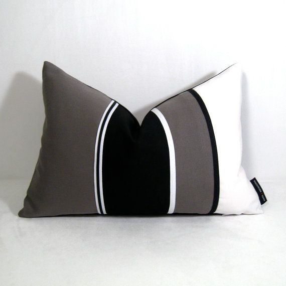 Black White Pillow Cover Grey Color Block Outdoor By