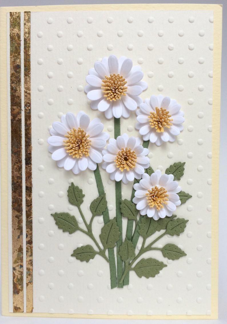 Card with 3D Quilled Daisy Daisy Birthday Card Lilac Daisy