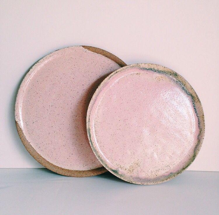 Pink ceramic plates - glaze application                                                                                                                                                      More