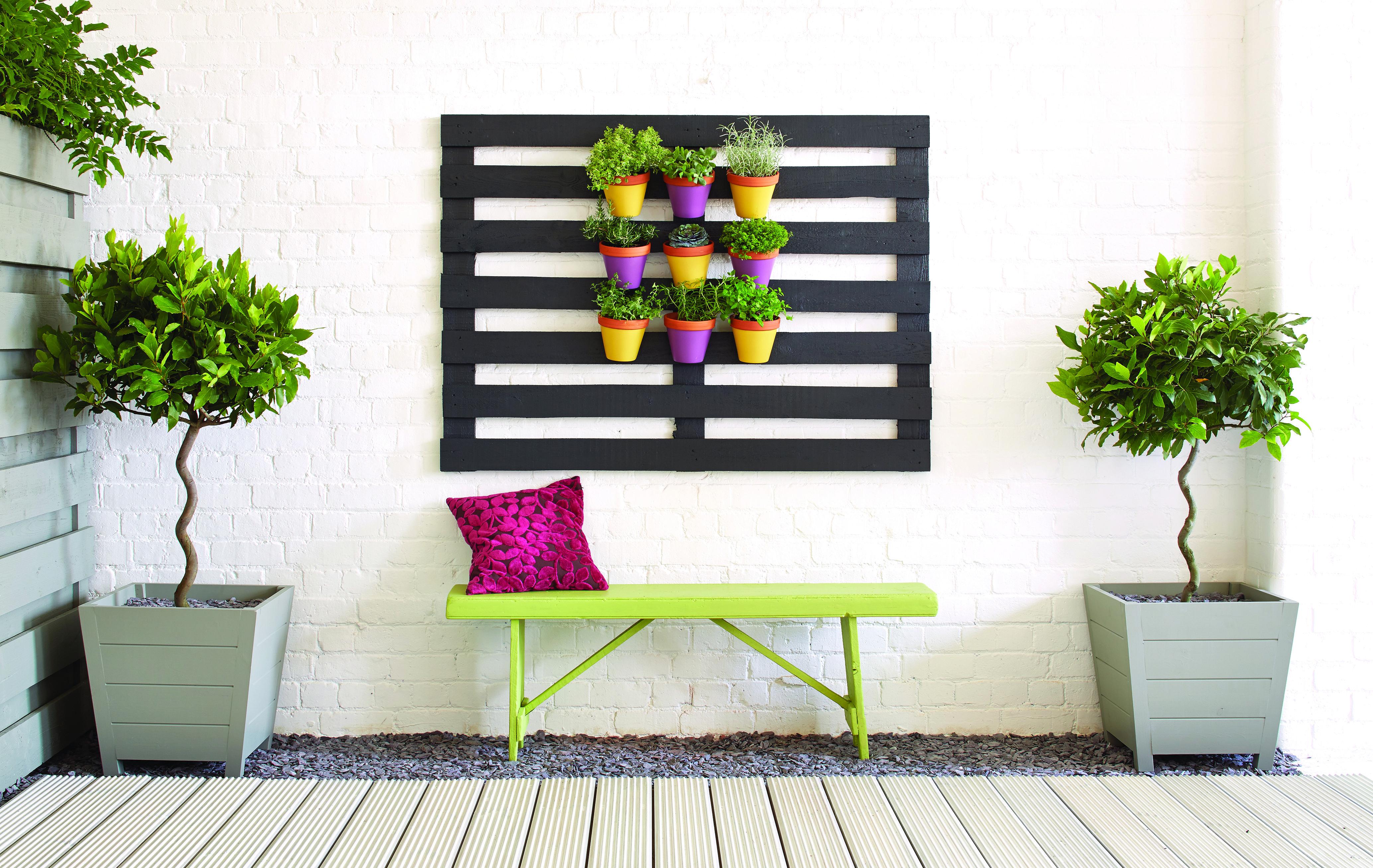 Ronseal Garden Paint - Here we\'ve used Blackbird, Slate, Lime Zest ...