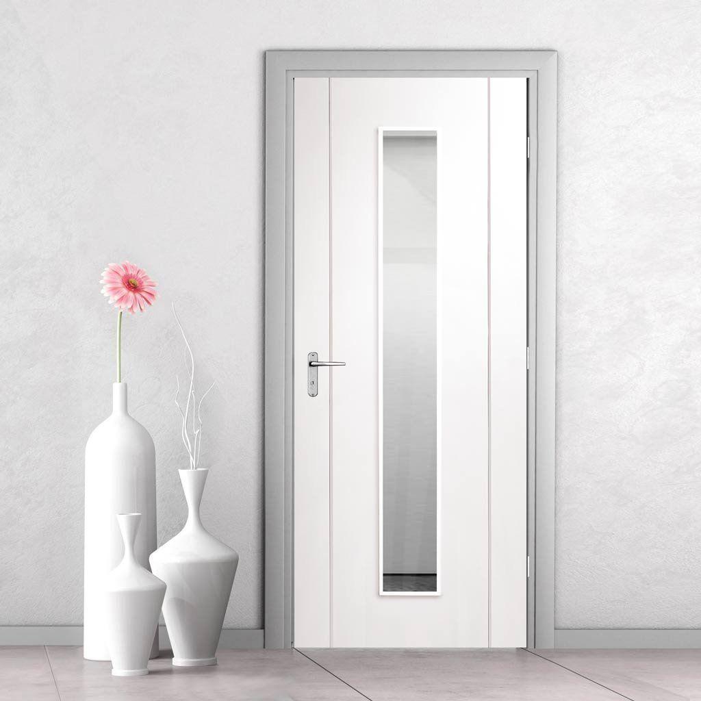 Bespoke Forli White Glazed Door With Aluminium Inlay Prefinished