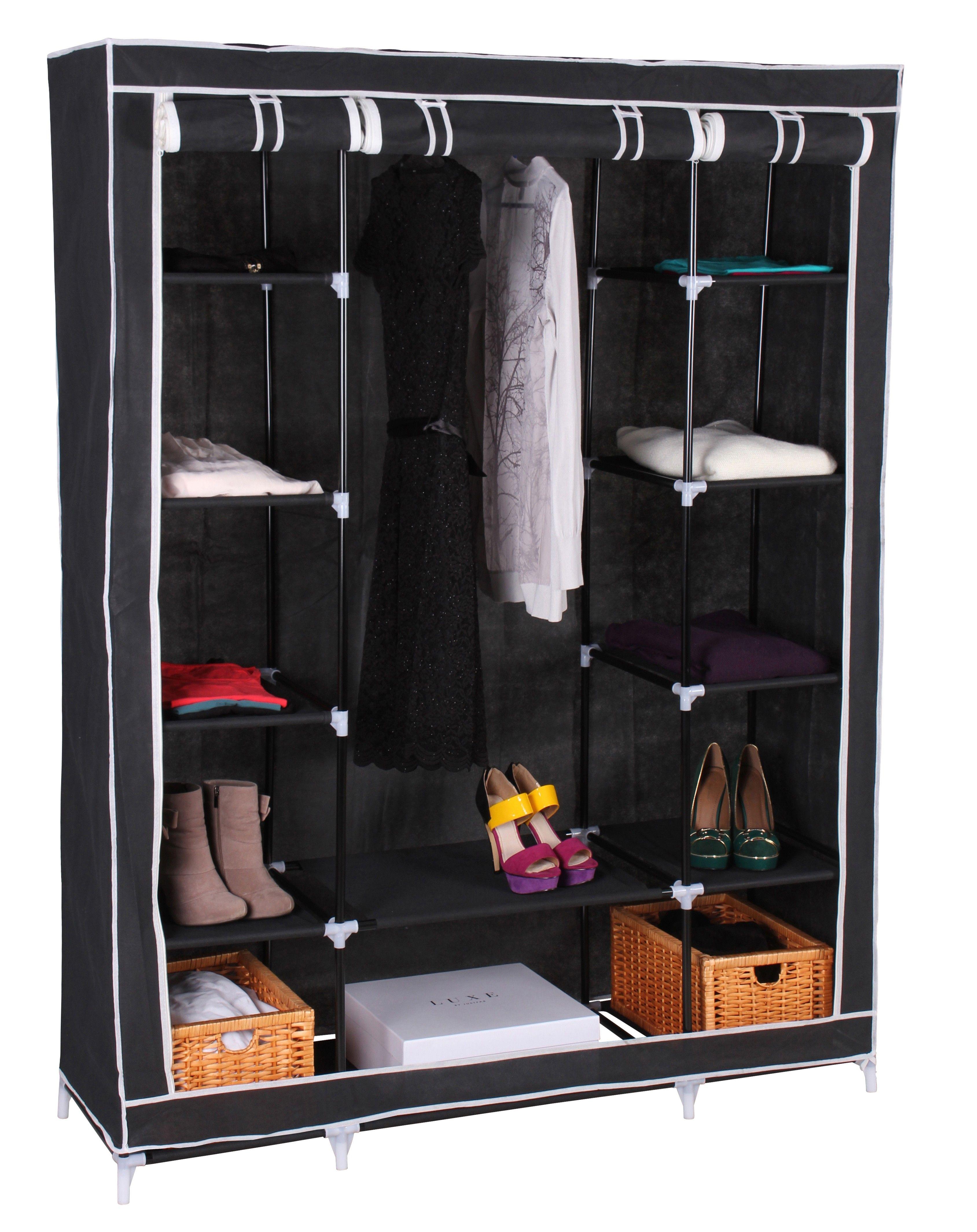 Textil Kleiderschrank Campingschrank mit Fächern Schwarz ...