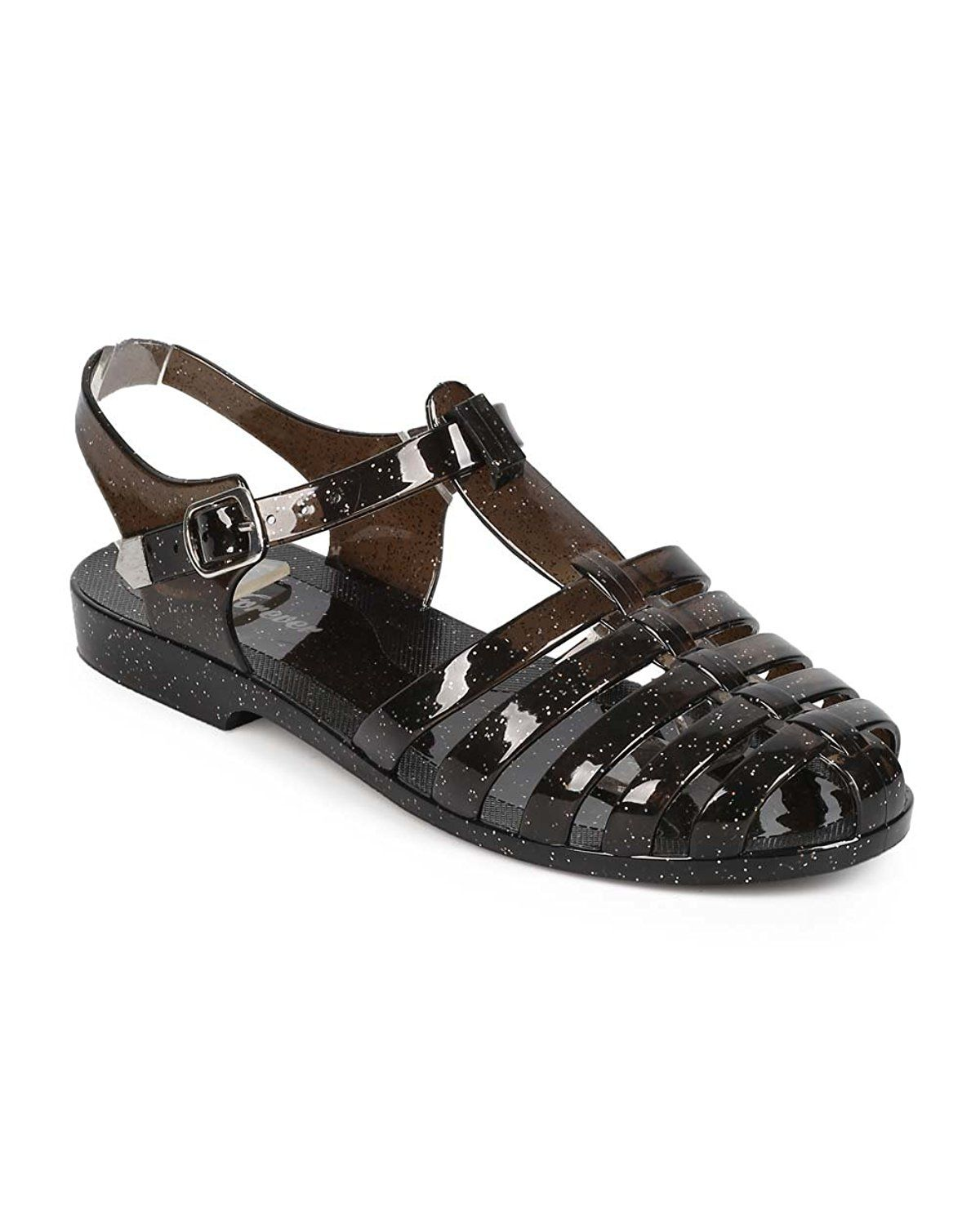 ef4a4c757f1c Forever EA65 Women Glitter Jelly Classic Fisherman Sandal Flat - Black     Find out more details by clicking the image   Jelly Sandals
