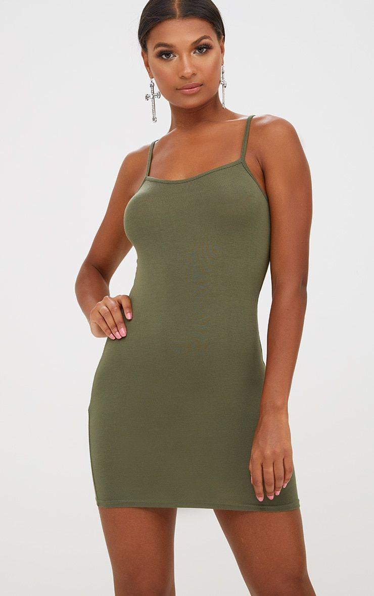 6d041703389a Basic Khaki Strappy Bodycon Dress | clothes | Dresses, Bodycon Dress ...