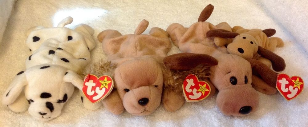 473d034e352 Lot 4~Vtg. Ty Original Beanie Babies Dogs w Tags SPUNKY