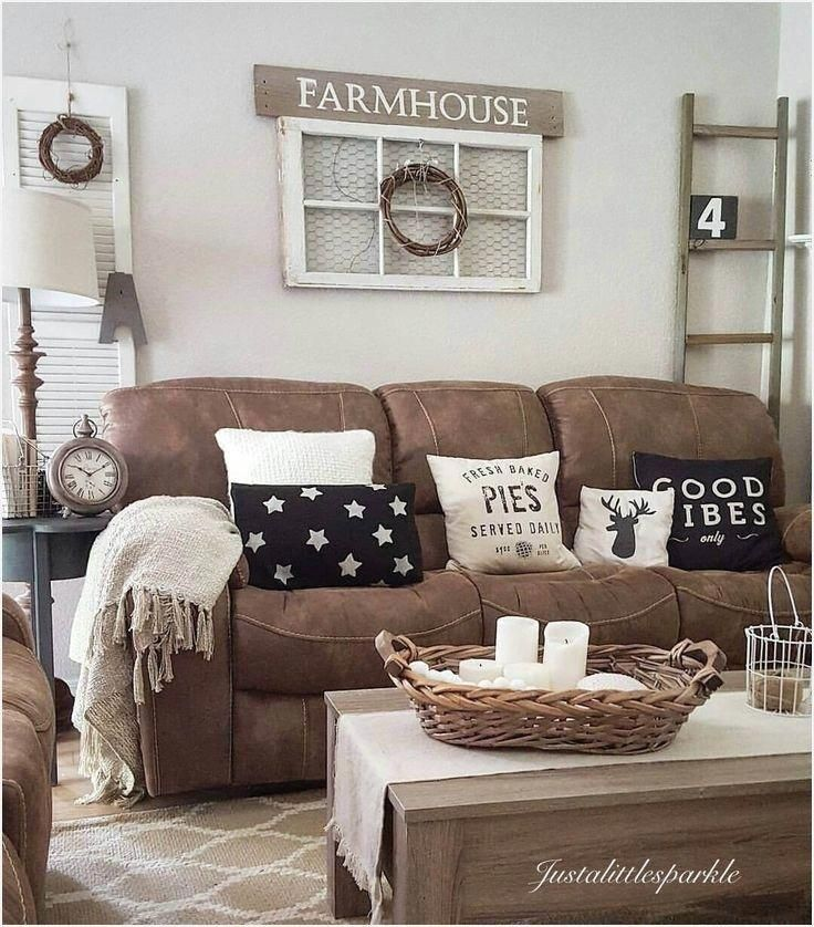43 Cozy Small Farmhouse Style Family Rooms Ideas Homenthusiastic Brown Couch Living Room Living Room Decor Rustic Farmhouse Decor Living Room