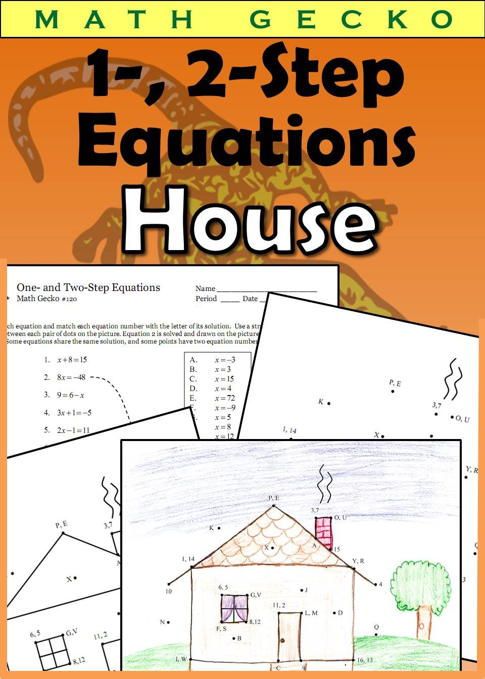 Students Solve One And Two Step Equations Solutions Are Matched To Coordinates On A Grid Page Which Stu Two Step Equations Word Problem Worksheets Equations