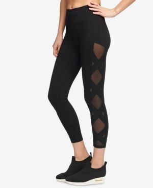 aa0c3db2588067 Dkny Sport High-Rise Mesh-Inset Yoga Ankle Leggings, Created for Macy's -  Black XS