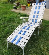 Webbed Aluminum Folding Chaise Lounge Lawn Chair White Blue Plastic Arms