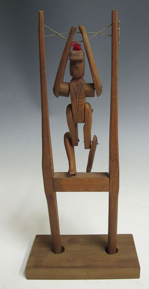 Antique Early 1900s Carved Wood Figural Acrobat Flip Toy