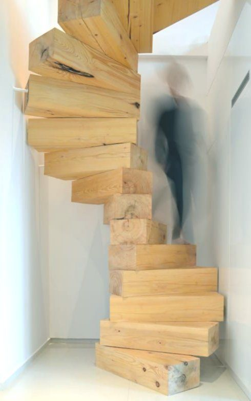 Great spiral staircase made of wood
