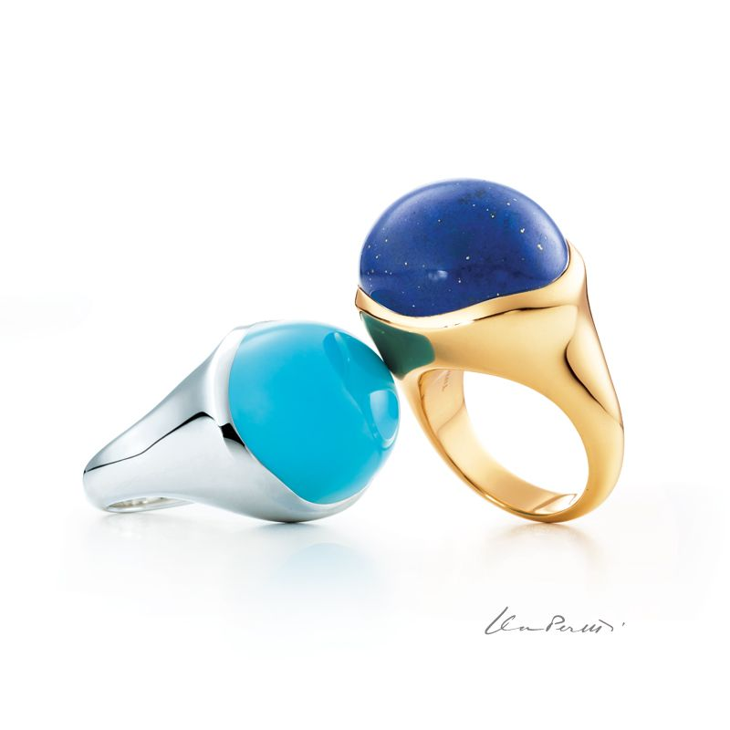 e191348b7 Elsa Peretti® Cabochon rings in sterling silver with turquoise and in 18k  gold with lapis lazuli. #ElsaPeretti #TiffanyPinterest #TiffanyAndCo #Ring  #Blue