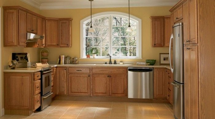 Kitchen Design Ideas With Oak Cabinets kitchen design ideas with oak cabinets 97 photos best in kitchen design ideas with oak cabinets Kitchen Design Oak Cabinets Black Counters Pale Yellow Walls Black Floral Blinds School House Lights House