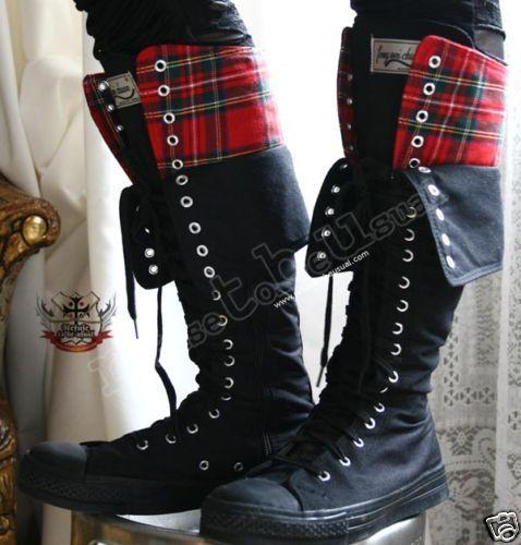 863ea29e447 Goth Punk Knee boots CANVAS+TARTAN 8 8.5 FLAP COLLAR 39
