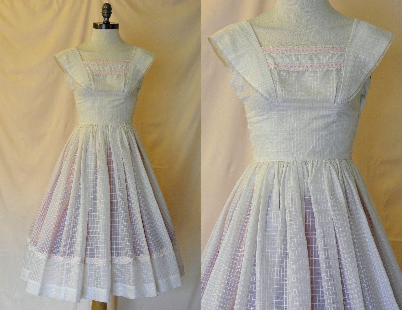 Reserved for Dani 1950's Vintage White Summer Dress XS Retro ...