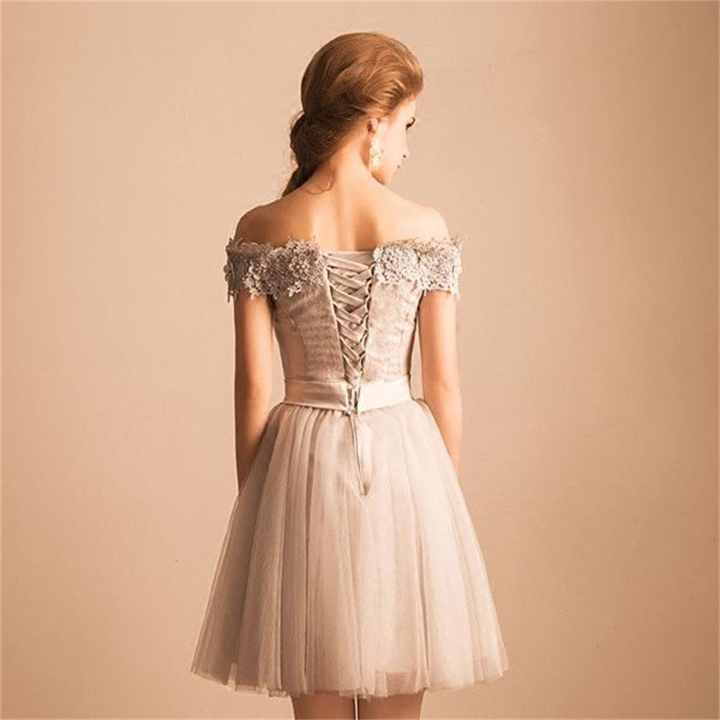 New short prom dress off shoulder lace appliques tulle charming