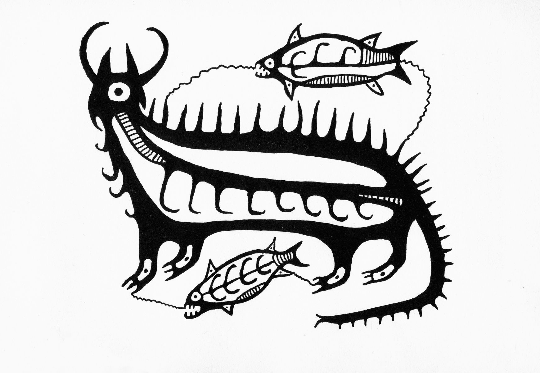 Norval Morrisseau Early 1960s Drawing Of Mishipizheu And Fish