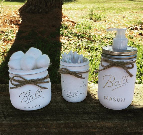 Ordinaire Distressed Mason Jar Bathroom Set. Soup Dispenser, Cotton Ball Hold, Q Tip