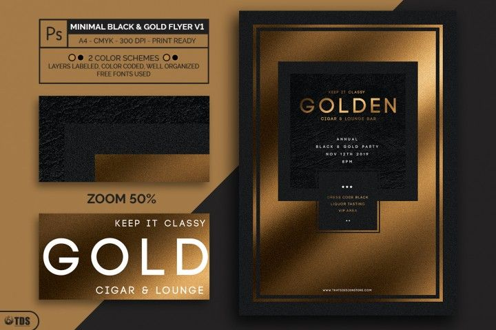 Minimal Black and Gold Flyer Template V1 Flyer template - black flyer template