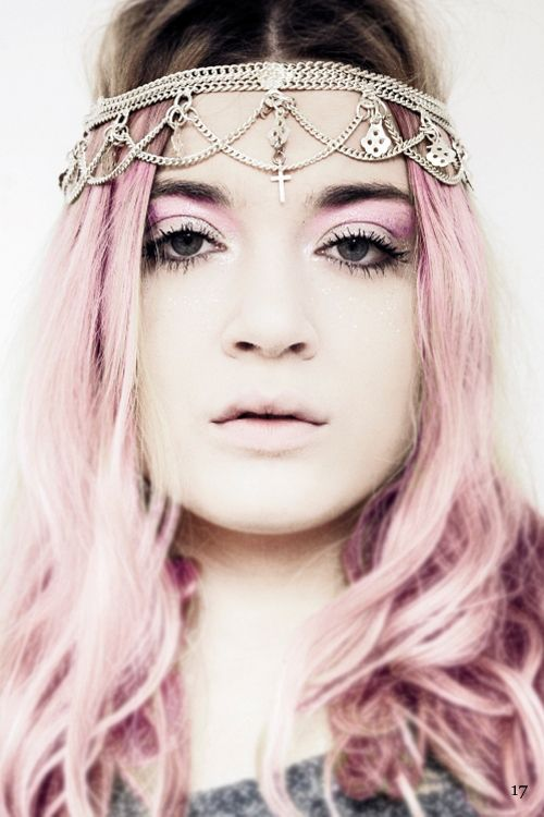 Hair chains on pastel pink