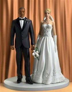 Mixed Race Wedding Cake Topper Yes Brunette BrideBlack