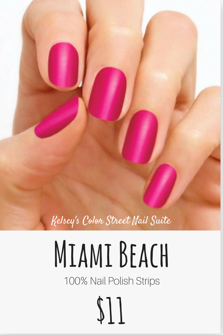 Color Street Miami Beach. Bright pink nail polish. Apply dry for a ...