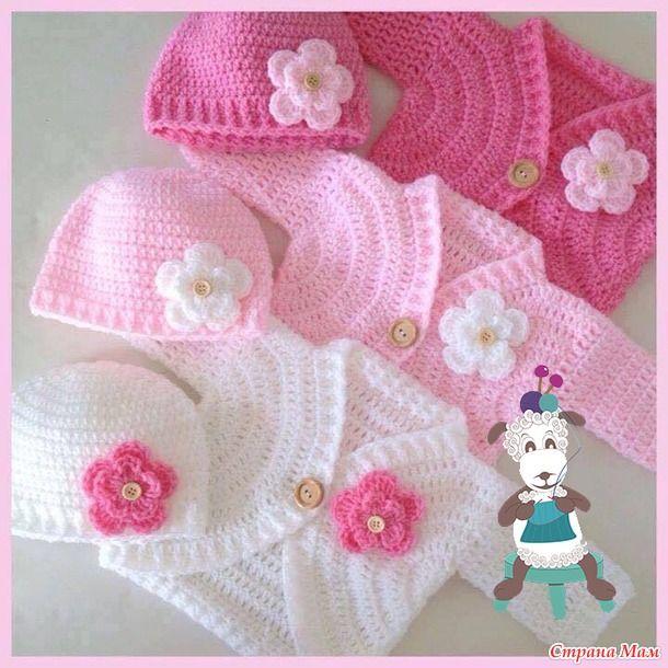 New crocheted baby girl sweater set