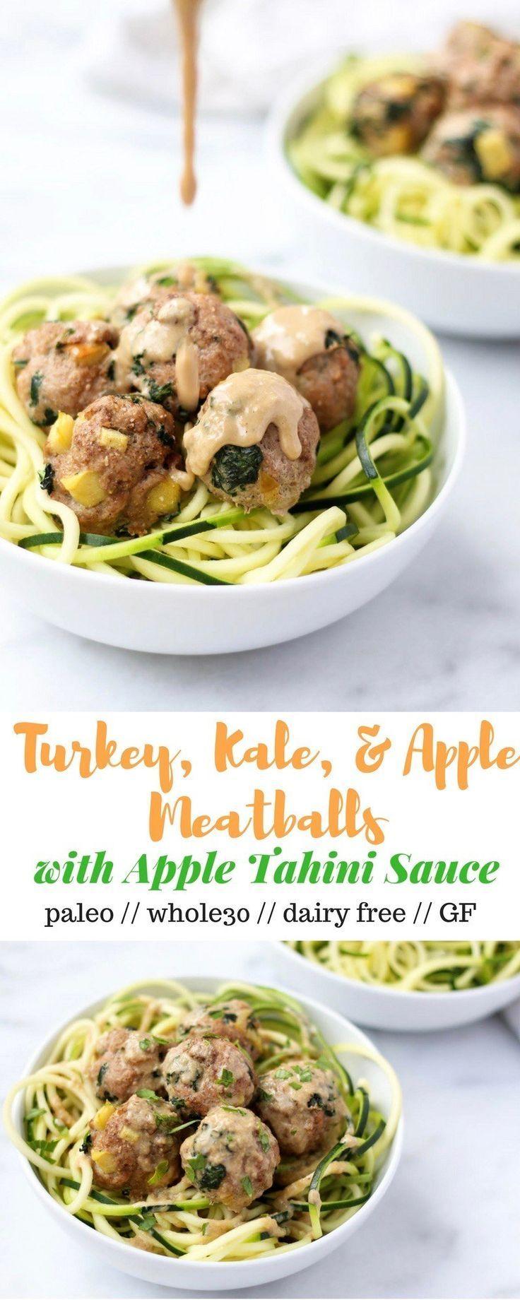 Turkey, Kale, & Apple Meatballs with Apple Tahini Sauce #applerecipes