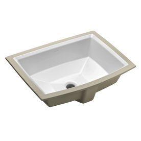 Kohler Archer White Undermount Rectangular Bathroom Sink With