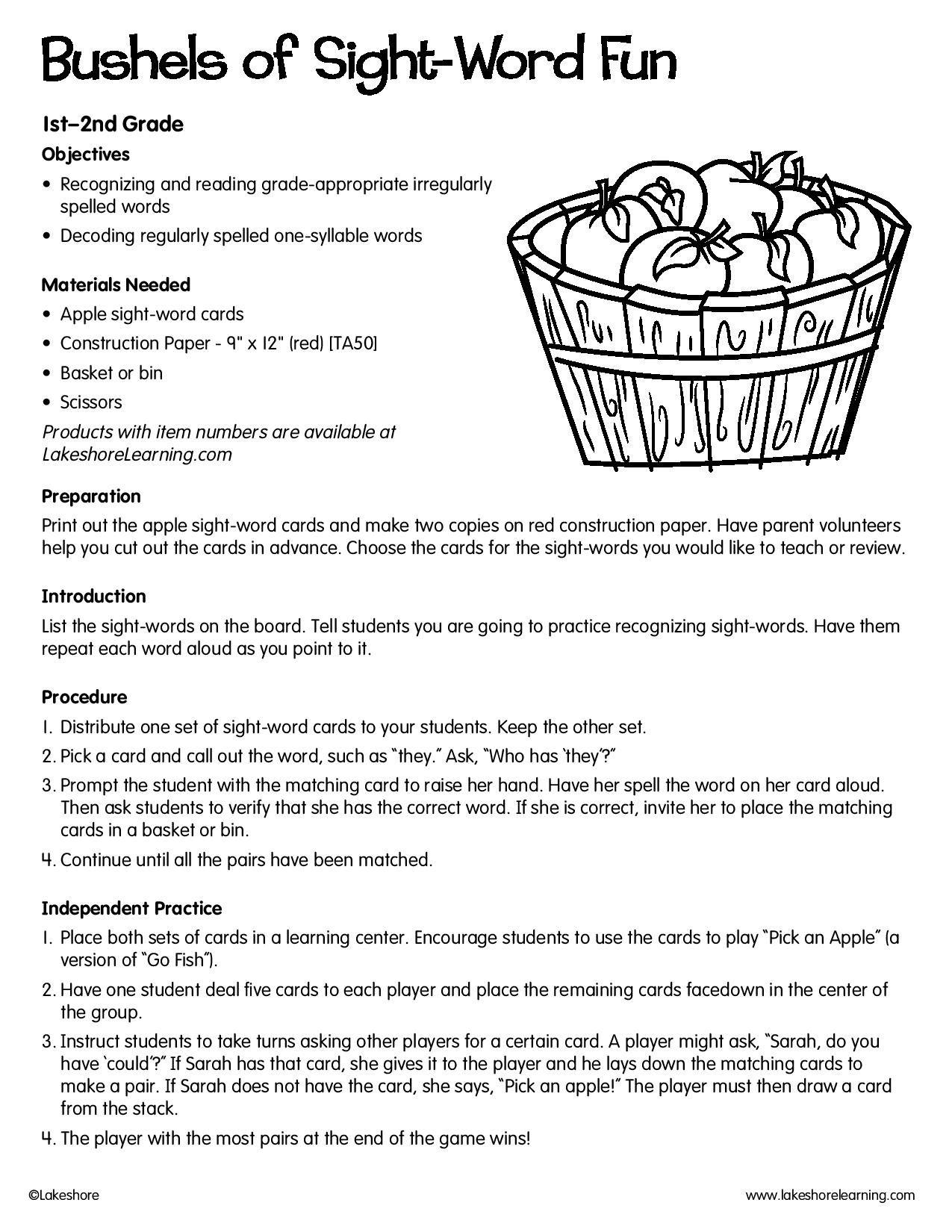 Bushels Of Sight Word Fun Lessonplan Sightwords