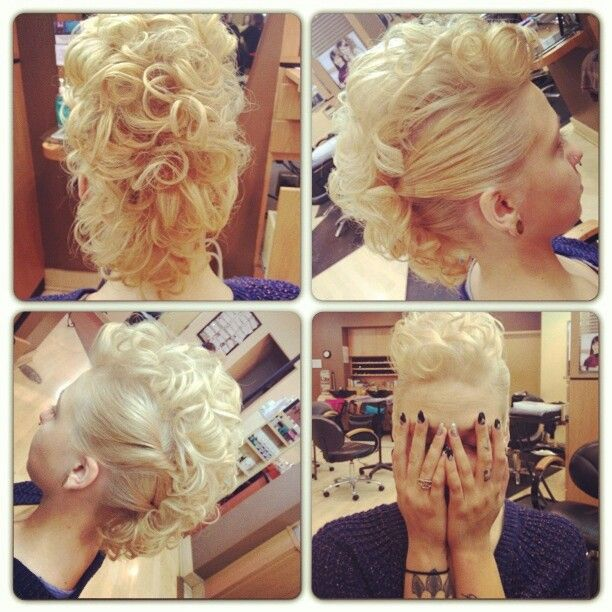 Curly Mohawk Updo Updos Hair Styles Mohawk Hairstyles Hair