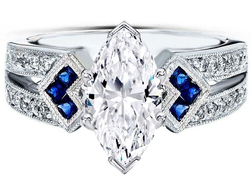 Diamond Ring With Blue Sapphire Side Stones
