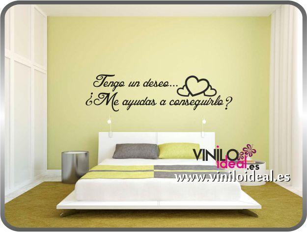 Vinilo decorativo cabecero cama frase interiores for Vinilo para dormitorio adultos
