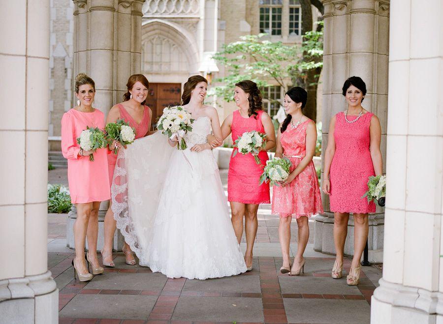 Mismatched Hot Pink Bridesmaids | Hot pink bridesmaids, Hot pink ...