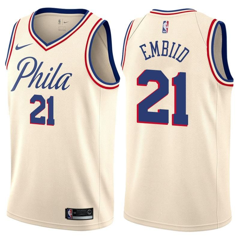 Men s Philadelphia 76ers Joel Embiid Jersey White City Edition Fanatics  Swingman 30e539320