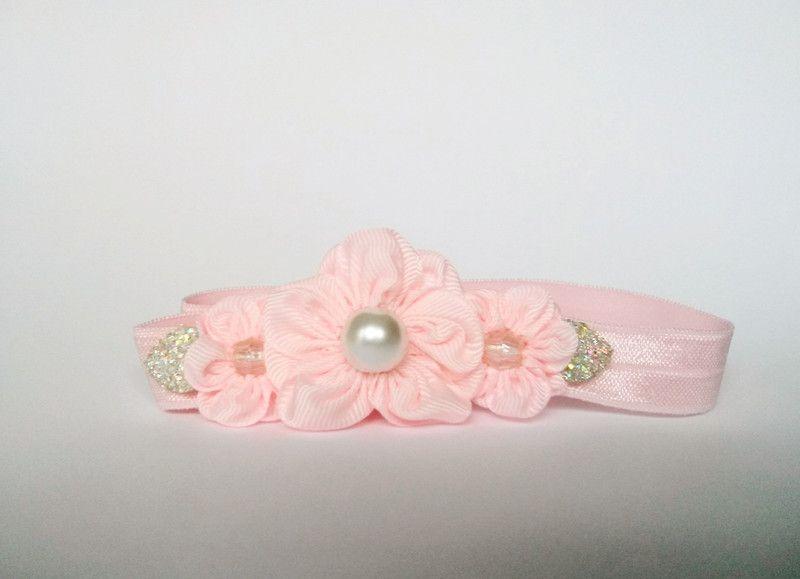 bc603210d5 Opaska kwiatki z perełkami róż na święta chrzest - MadebyKaza - Opaski dla  niemowląt