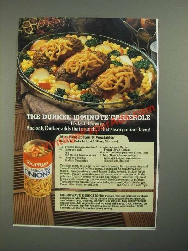 Eg0768 1987 Durkee French Fried Onions Ad Mini Meat Loaves Recipes French Fried Onions Meatloaf