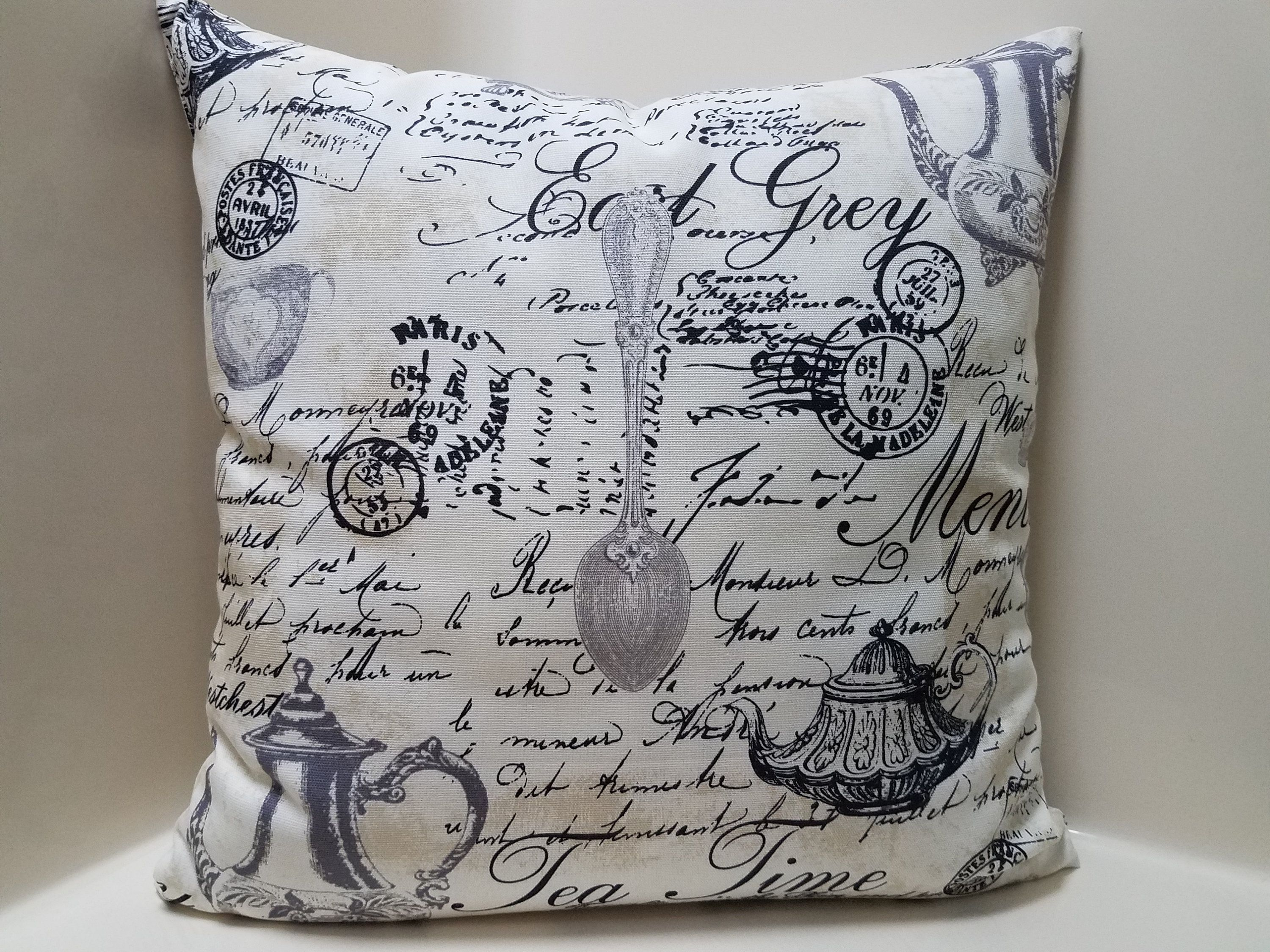 Decorative Country Pillow Cover French Stamp White Black Gray